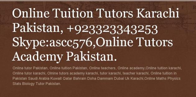 Online Tuition Pakistan - Online Tutor Pakistan